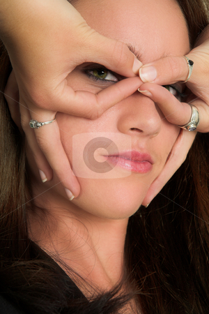 Business Woman #530 stock photo, Portrait of a brunette business woman, pulling faces by Sean Nel