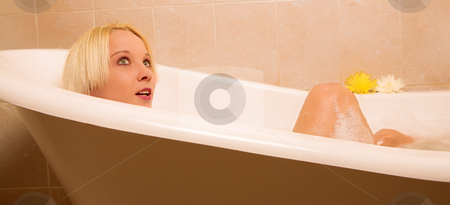 Woman #28 stock photo, Nude woman in a bath. by Sean Nel