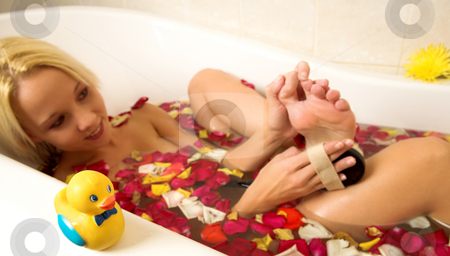 Woman #147 stock photo, Nude woman in a bath. by Sean Nel
