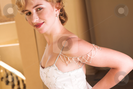 Bride #5 stock photo, Young Bride with white wedding gown - White satin by Sean Nel