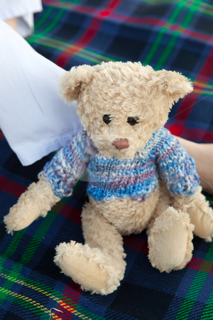 Teddy bear picnic stock photo, Brown teddy bear in blue jersey sitting against a womans leg on a tartan picnic blanket. Shallow Depth of Field, focus on face by Sean Nel