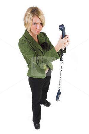 Business Lady #13 stock photo, Blond Business woman with telephone by Sean Nel