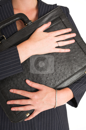 Laura Hopton #14 stock photo, Business woman with black leather suitcase by Sean Nel