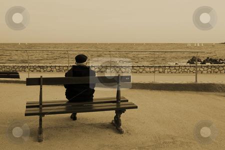 Benchman #06 stock photo, Man on Bench, next to the sea, Sepia, Vintage, High Key by Sean Nel
