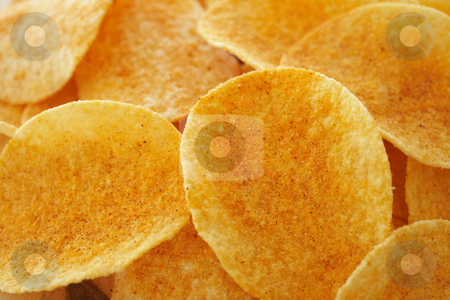 Chips and dip stock photo, Crispy golden brown potato chips (shallow depth of field) by Sean Nel