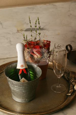 Champage stock photo, Champagne and red roses by Sean Nel