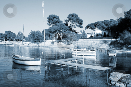 Antibes #251 stock photo, A yacht floating  in Antibes, France. Blue tone. by Sean Nel