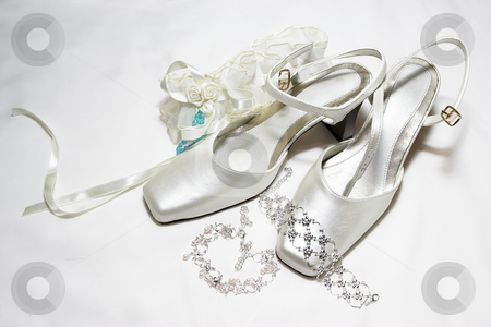 Shoes #11 stock photo, White satin wedding shoes by Sean Nel