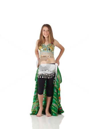 Young belly dancing girl stock photo, Young Caucasian belly dancing girl in beautiful decorated clothes on white background and reflective floor. Not isolated by Sean Nel
