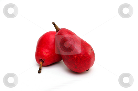 Red Pear stock photo, Two red pears  with a small amount of shadow isolated on a white background by Lynn Bendickson