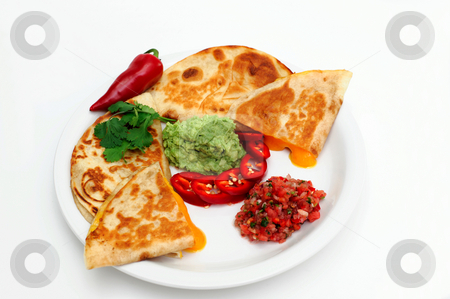 Cheese Quesadilla stock photo, Quesadilla's with melted cheddar cheese, guacamole, sliced red chili, tomato salsa topped with a sprig of cilantro. by Lynn Bendickson
