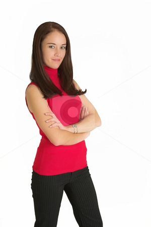 Business Woman #533 stock photo, Portrait of a brunette business woman, standing with her arms folded, smiling by Sean Nel
