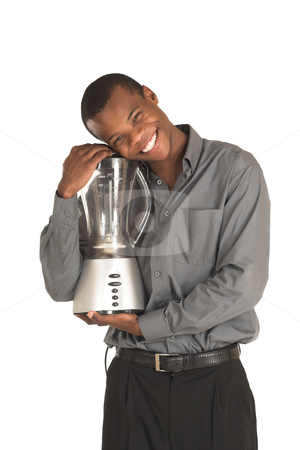Businessman #149 stock photo, Businessman hugging a food blender.  Sminling. by Sean Nel