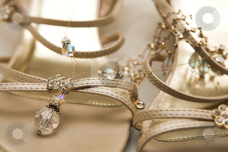 Bridal shoes stock photo, Close-up of bridal shoes with crystal necklace.  Shallow Depth of field by Sean Nel