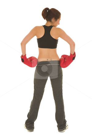 Boxer #18 stock photo, Brunette with red boxing gloves by Sean Nel