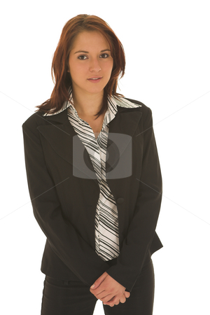 Business Woman  stock photo, Business woman with brown hair, dressed in a white shirt with black stripes by Sean Nel