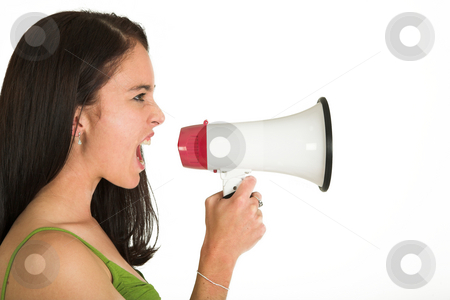 Business Woman #527 stock photo, Brunette business woman with megaphone - screaming by Sean Nel
