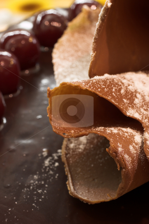 Pastry #37 stock photo, Glazed Chocolate cake and Cherries in a French Patisserie and Chocolaterie - Shallow Depth of Field, copy space by Sean Nel