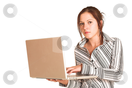 Business Woman #354 stock photo, Business woman with brown hair, dressed in a white shirt with black stripes. Holding  computer.  Copy space by Sean Nel