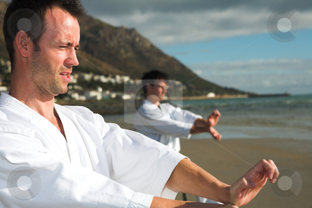 Men practicing Karate on the beach stock photo, Young adult men with black belt practicing a Kata on the beach on a sunny day (person in background hidden) by Sean Nel