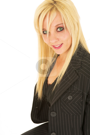 Business Woman in black #132 stock photo, Blond business woman in black dress business suit by Sean Nel