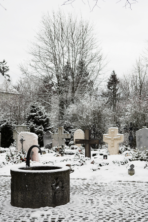 Kirchberg #10 stock photo, Graveyard covered in snow.  Copy space. by Sean Nel