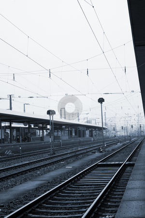 Neurenburg railway station stock photo, Trainstation in Neurenburg, Germany.  Blue tone. by Sean Nel