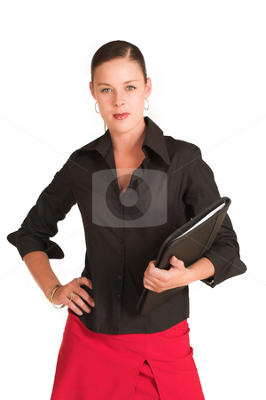 Business People #1 stock photo, Business woman dressed in a black shirt and red skirt.  Holding a file by Sean Nel
