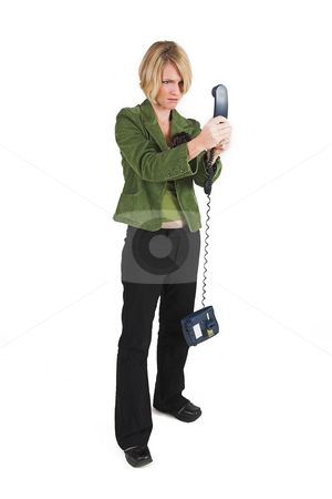 Business Lady #15 stock photo, Blond Business woman with telephone by Sean Nel