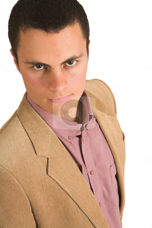 Businessman #211 stock photo, Businessman in a pink shirt and camel coloured jacket, looking serious. by Sean Nel