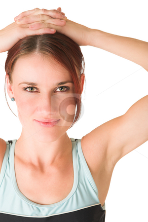 Gym #76 stock photo, Woman standing with hands on head by Sean Nel