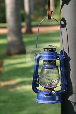 Blue storm Lantern stock photo, Hanging blue storm lantern by Sean Nel