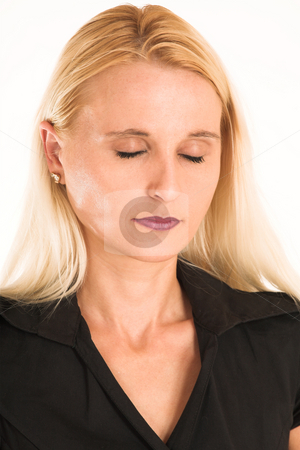 Business Woman #375 stock photo, Blond business woman, dressed in a black clothes. Eyes closed. by Sean Nel