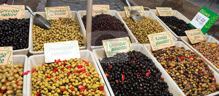 StRaphael #7 stock photo, Fresh olives on the open air market by Sean Nel