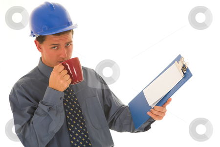 Businessman #107 stock photo, Worker drinking coffee. by Sean Nel