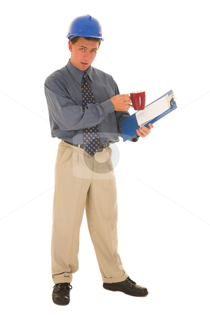 Businessman #111 stock photo, Man working with clipboard and mug in his hands. by Sean Nel