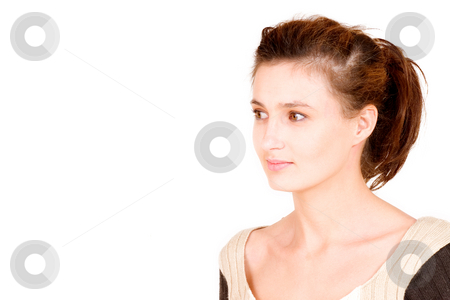 Business Lady #114 stock photo, Business woman with neutral knitted top staring to the side by Sean Nel