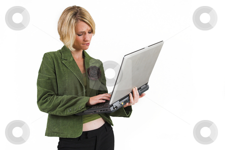 Business Lady #9 stock photo, Blond Business woman with notebook computer by Sean Nel
