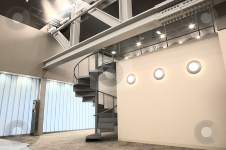 Interior of a new office stock photo, Empty entrance hall to office building. HDR type image by Sean Nel