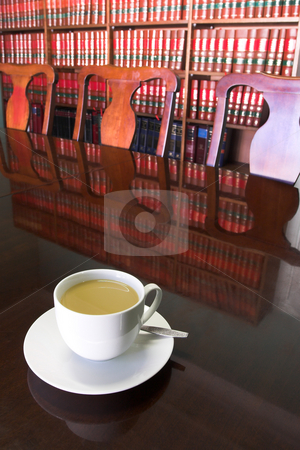 Legal Coffee Cup #3 stock photo, White Coffee cup with Legal Library in background by Sean Nel