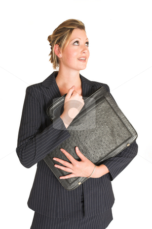 Laura Hopton #20 stock photo, Business woman holding leather suitcase - looking up by Sean Nel
