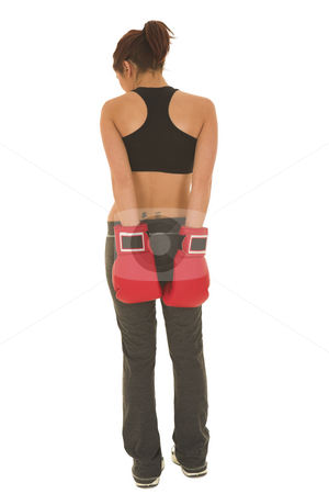 Boxer #16 stock photo, Brunette with red boxing gloves by Sean Nel
