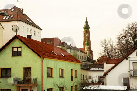Basilica overlooking Town stock photo, Basilica of St Jacob overlooking the Town of Straubing by Sean Nel