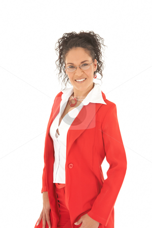 Beautiful Caucasian businesswoman stock photo, Portrait of a beautiful young Caucasian businesswoman with curly hair and glasses wearing red suit on white background. NOT ISOLATED by Sean Nel