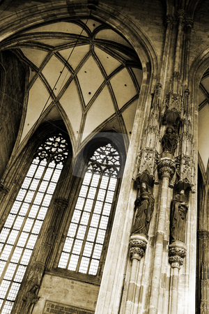 Vienna #55 stock photo, The inside of the st Stephens DOM in Vienna, Austria - Brown Tone - High Contrast (grain) by Sean Nel