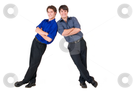 Business People #9 stock photo, Two business partners leaning on each other - copy space by Sean Nel