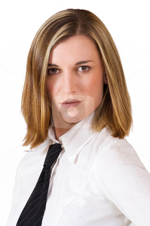 Felicity Calitz #15 stock photo, Business woman in white shirt and black tie by Sean Nel