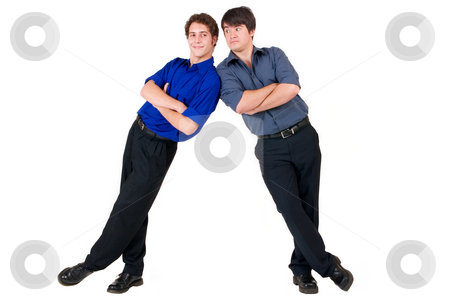 Business People #5 stock photo, Two business partners leaning on each other by Sean Nel
