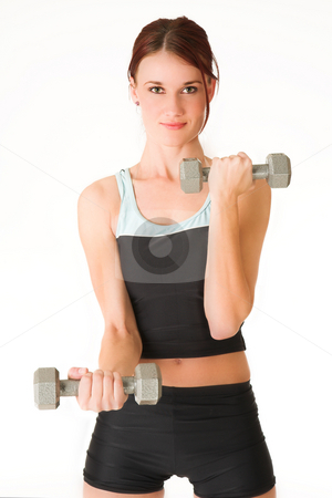 Gym #5 stock photo, A woman in gym clothes, holding weights. by Sean Nel