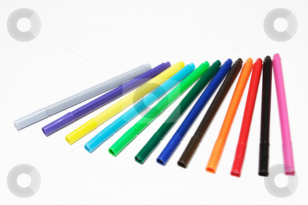 Fiber tipped pens #3 stock photo, Different coloured fiber tipped pens by Sean Nel